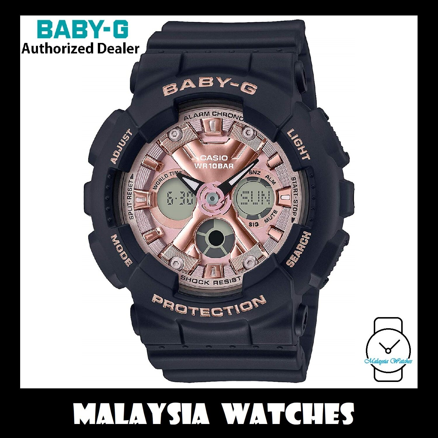 (OFFICIAL WARRANTY) Casio Baby-G BA-130-1A4 Standard Analog-Digital Black & Rose Gold Resin Watch BA130-1A4 BA130-1A4DR BA-130-1A4DR Malaysia