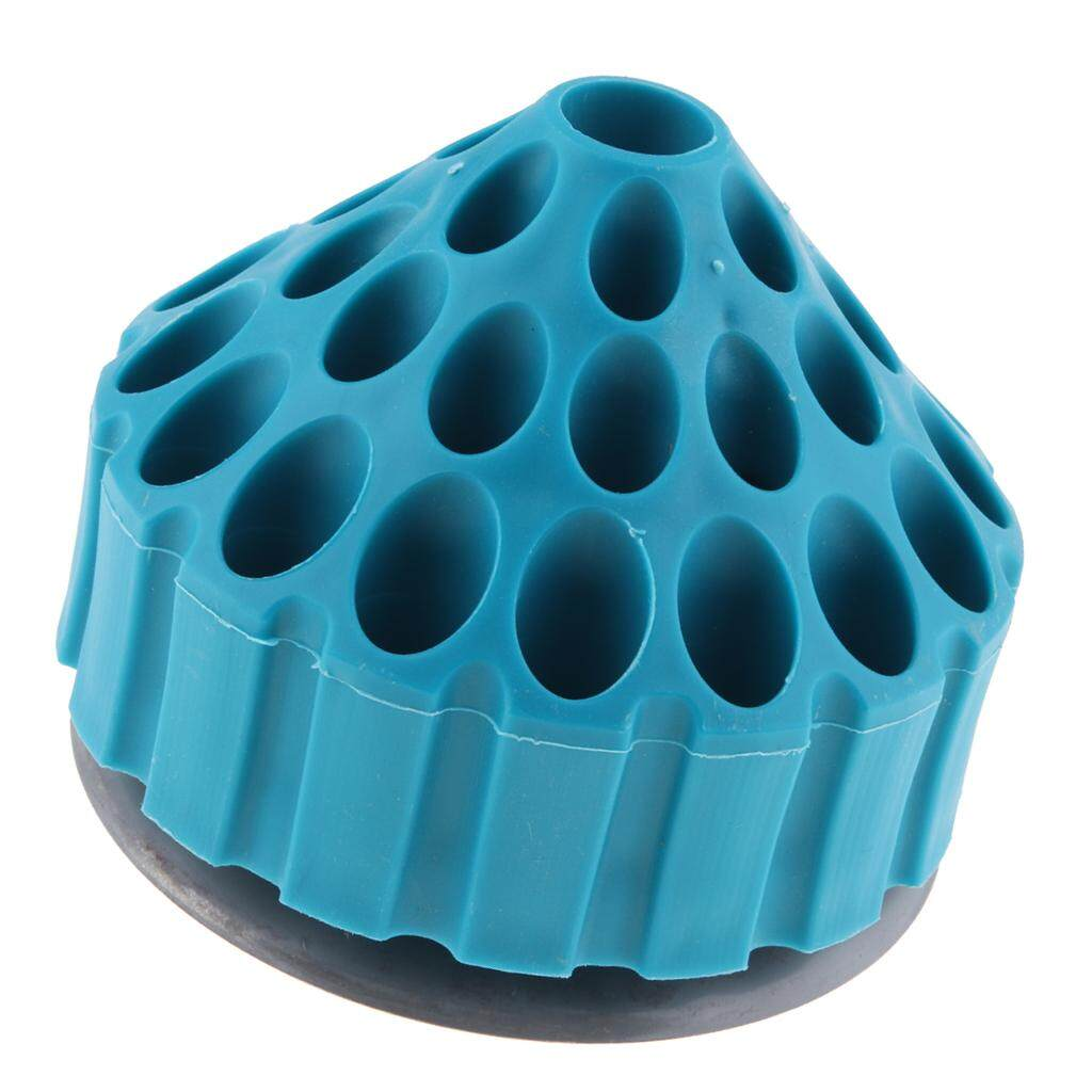 Dolity Blue Plastic Round Drill Bit Stand Storage Displayer with Iron Rotating Base