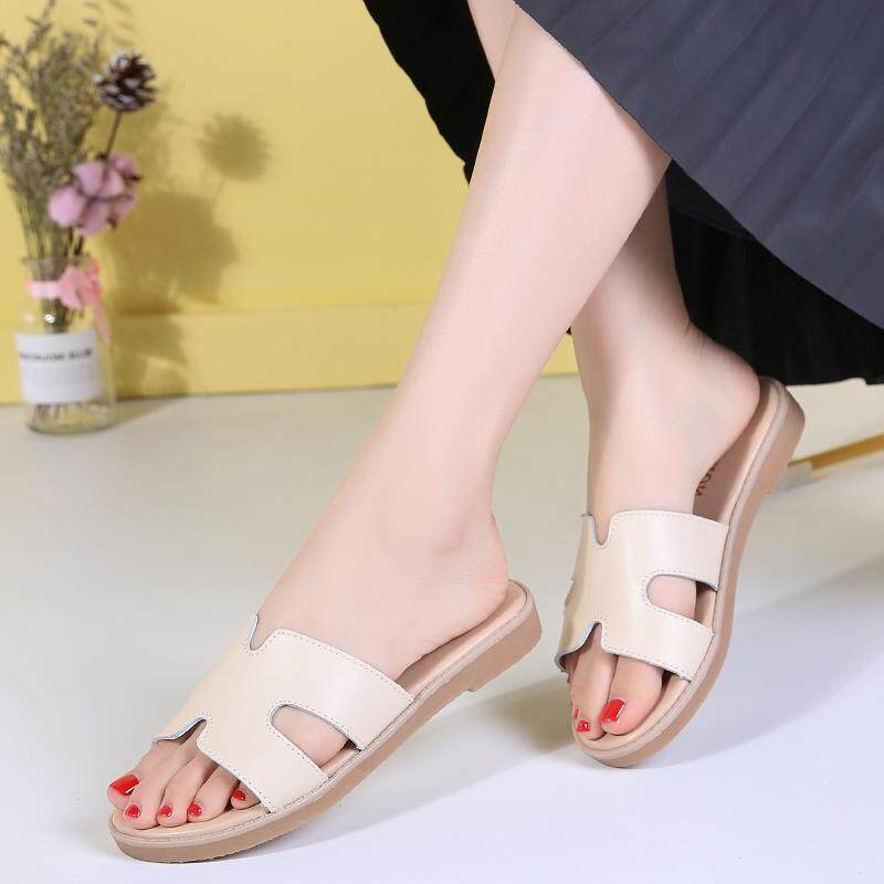 2f183ee36d141 2018 new summer slippers casual flat women's shoes H word hollow ladies  sandals fashion slippers L322