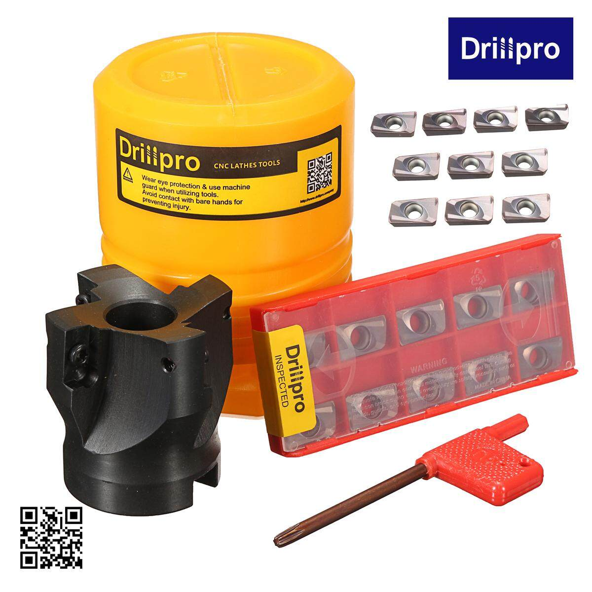 Drillpro 400R-50-22 4 Flute 90 Degree Face End Mill Cutter with 10pcs APMT1604 Carbide Iinserts and Spanner