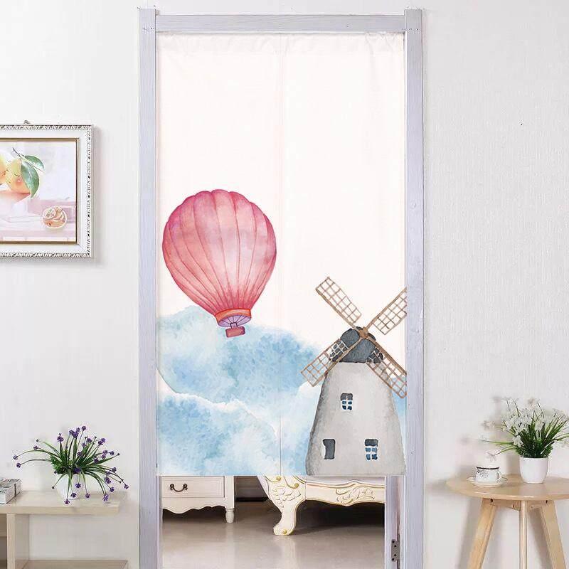 Japanese-style  Bedroom decorative partition long Door curtain fabric bedroom Print cute Door curtain kitchen short Door curtain with rod