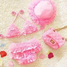 SFhappyStore Trẻ Em Bé Gái Bikini Ruffle Đồ Bơi Đồ Bơi Bộ Đồ Tắm