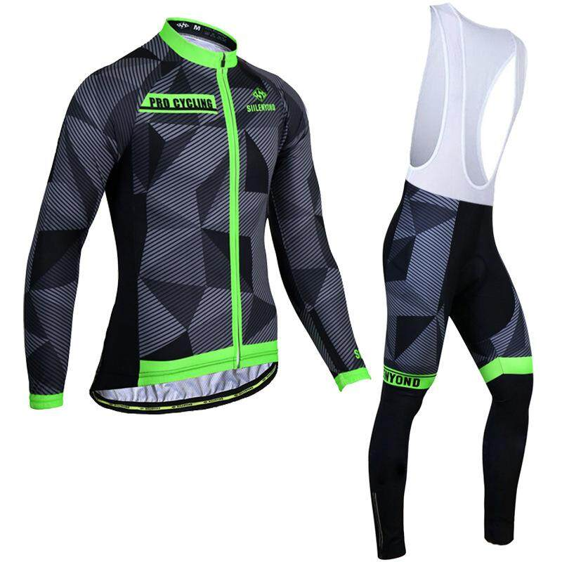 Mens Cycling Jersey Set Long Sleeve Coat Pants Bike Bicycle Sports Clothing Suit