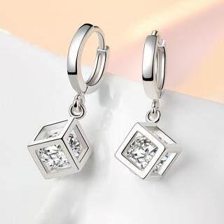 Bông tai nữ Hoa tai khối vuông đá zircon khuyên tròn bạc s925 thumbnail