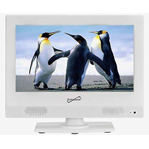 Supersonic SC-1311 White 13.3-Inch LED Widescreen HDTV 1080p Television with HDMI Input