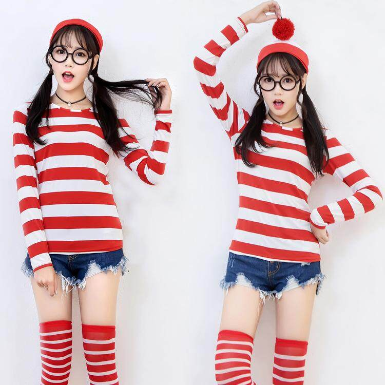 Where's Wally Waldo TV Cartoon Stag Night Outfit Adult women Fancy Dress Halloween Costume S M L XL XXL