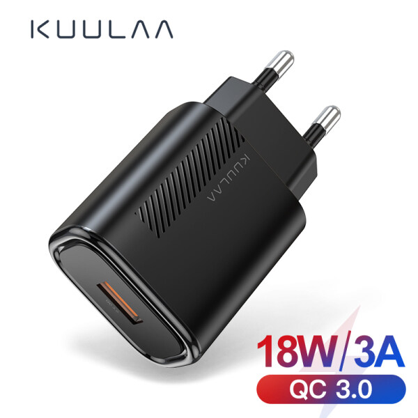 Sạc Nhanh KUULAA 3.0 QC 18W USB EU Sạc Cho Xiaomi Redmi Note 8 7 QC3.0 Sạc Nhanh USB Tường Sạc Điện Thoại Cho Samsung S10