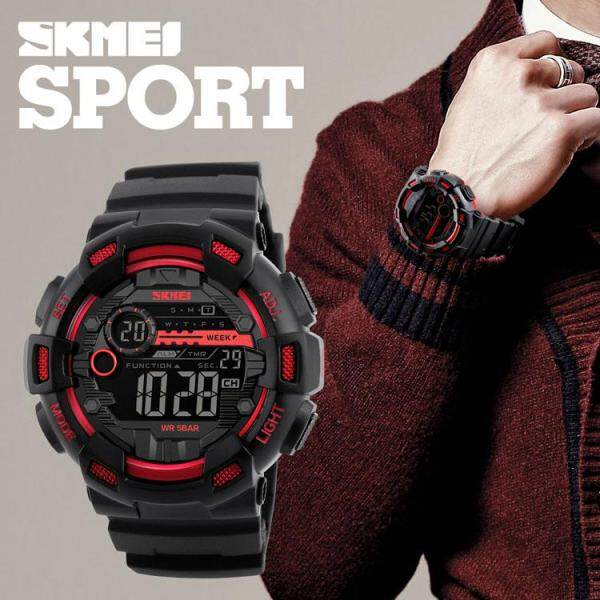 LazChoice [RAYA SALE] SKMEI Men Digital Wristwatches LED Display Multiple Time Zone 50M Waterproof Clock Relogio Masculino Outdoor Sports Watches 1243 Jam Tangan Lelaki/Man Malaysia