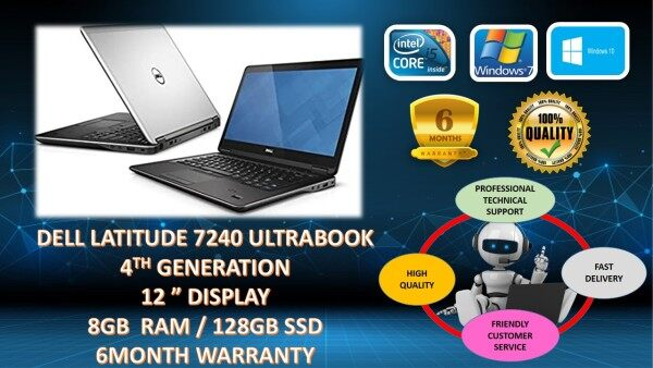 DELL LATITUDE E7240 ULTRABOOK BUSINESS [ INTEL CORE I5 4TH GEN / 8GB DDR3 RAM / 128GB SSD STORAGE / WINDOW 10 PRO GENUINE ] 6 MONTHS WARRANTY [ LAPTOP ] Malaysia