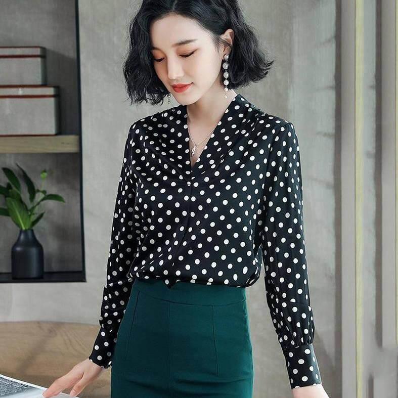 7854a903fb6792 ICHOIX Heavy Silk blouse women 2019 Spring new style Shirt OL Temperament  Fashion V-collar