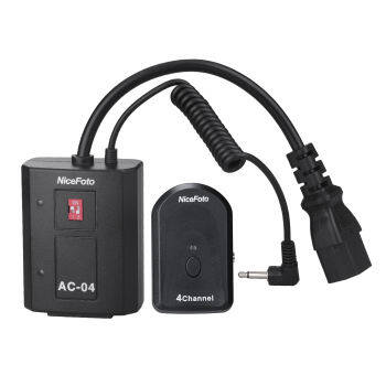 NiceFoto AC-04B 4 Channels Radio Wireless Remote Flash Trigger Transmitter 3.5mm Receiver with 6.35mm Adapter for All Studio Flashes and Outdoor Flashes