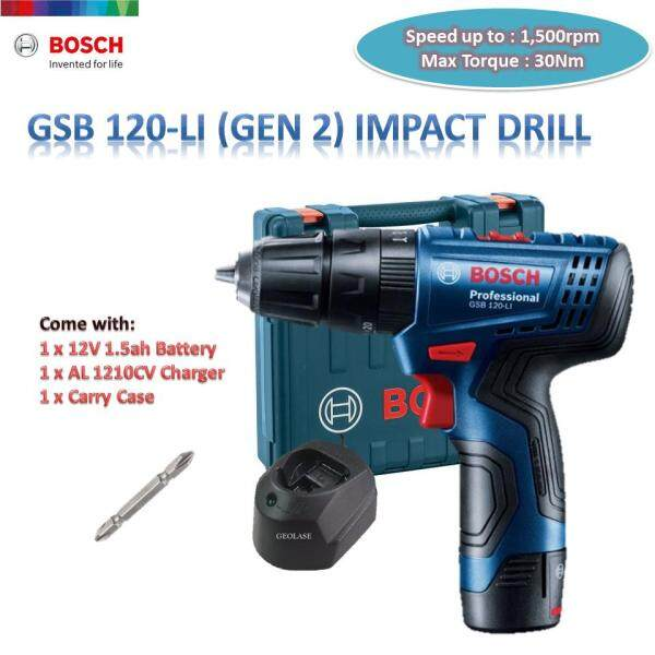 BOSCH 12V GSB 120-LI (GEN 2) CORDLESS IMPACT DRILL SINGLE BATTERY PACK WITH CASE [ GEOLASER ]