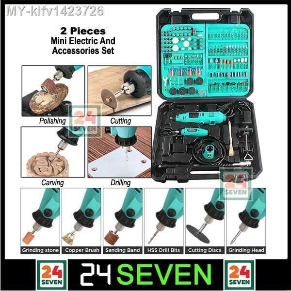TWENTYFOURSEVEN - 350pcs Mini Electric Drill Grinder Set - 350pcs Set Mini Drill Grinder Rotary Tool Variable Speed