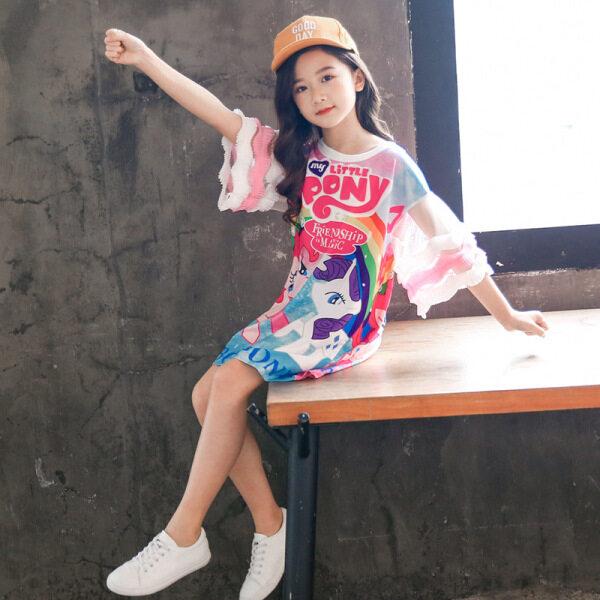 Giá bán Áo Thun Con Ngựa Nhỏ Hoạt Hình Cho Bé Gái, Váy Mùa Hè Hàn Quốc Áo Lưới Mary Nhỏ Giản Dị, 110-160Cm
