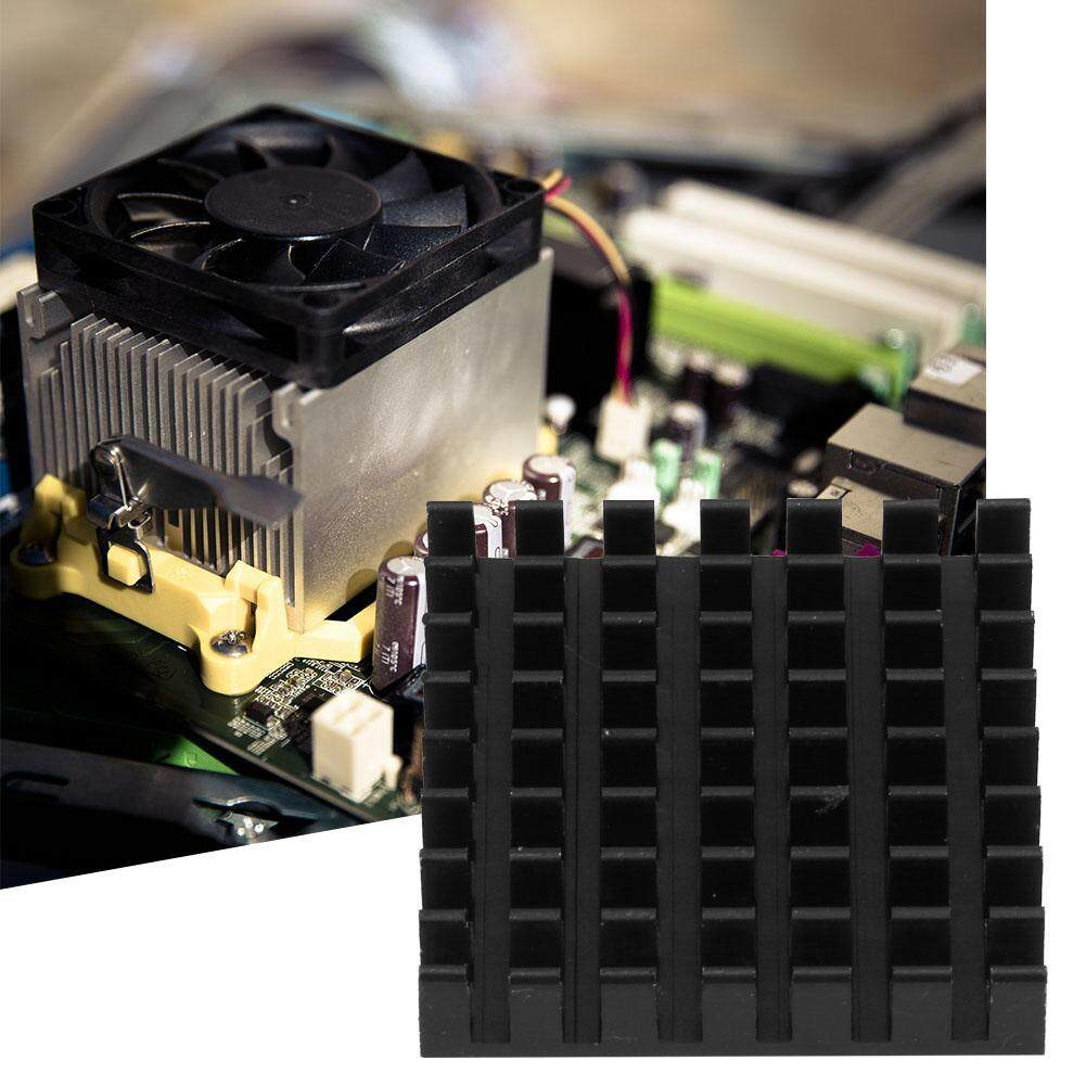 (Gold Certified Qianmei)10PCS Circuit Board Chip Aluminum Cooling Fin Heat Sink Cooler 28*6*28mm Black