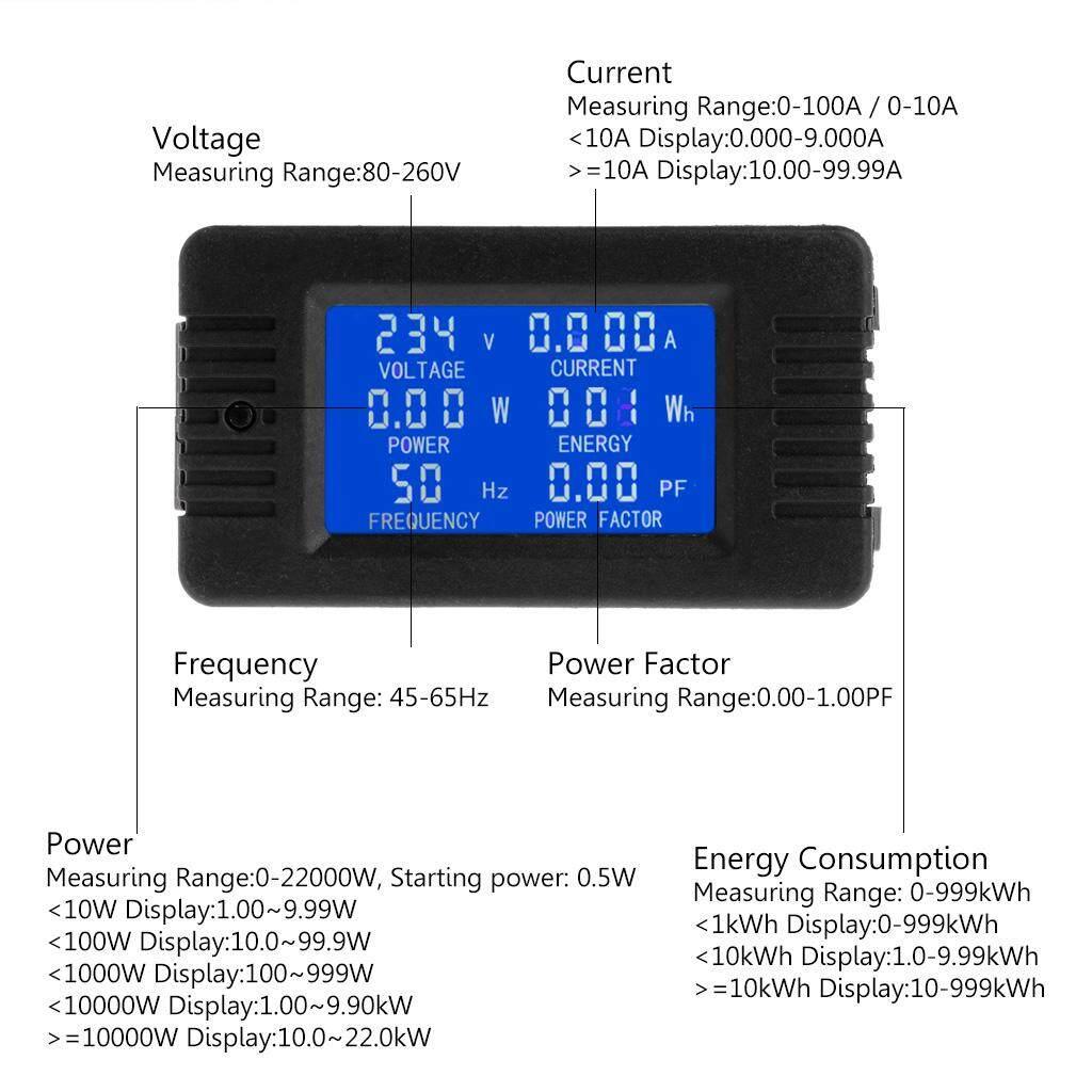 6in1 Digital AC 80 ~ 260 V Daya Monitor Energi Arus Tegangan KWh Watt Meter 100A