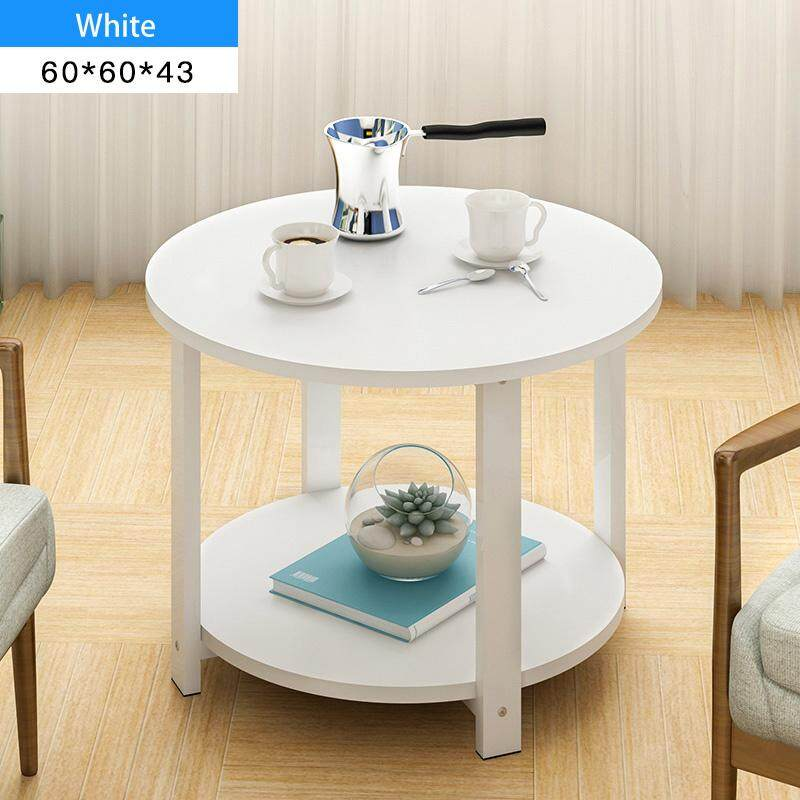 RuYiYu - 60X60X43cm, 2 Layer Round Coffee Table, Multi-color Optional, White Metal Frame, Coffe Table