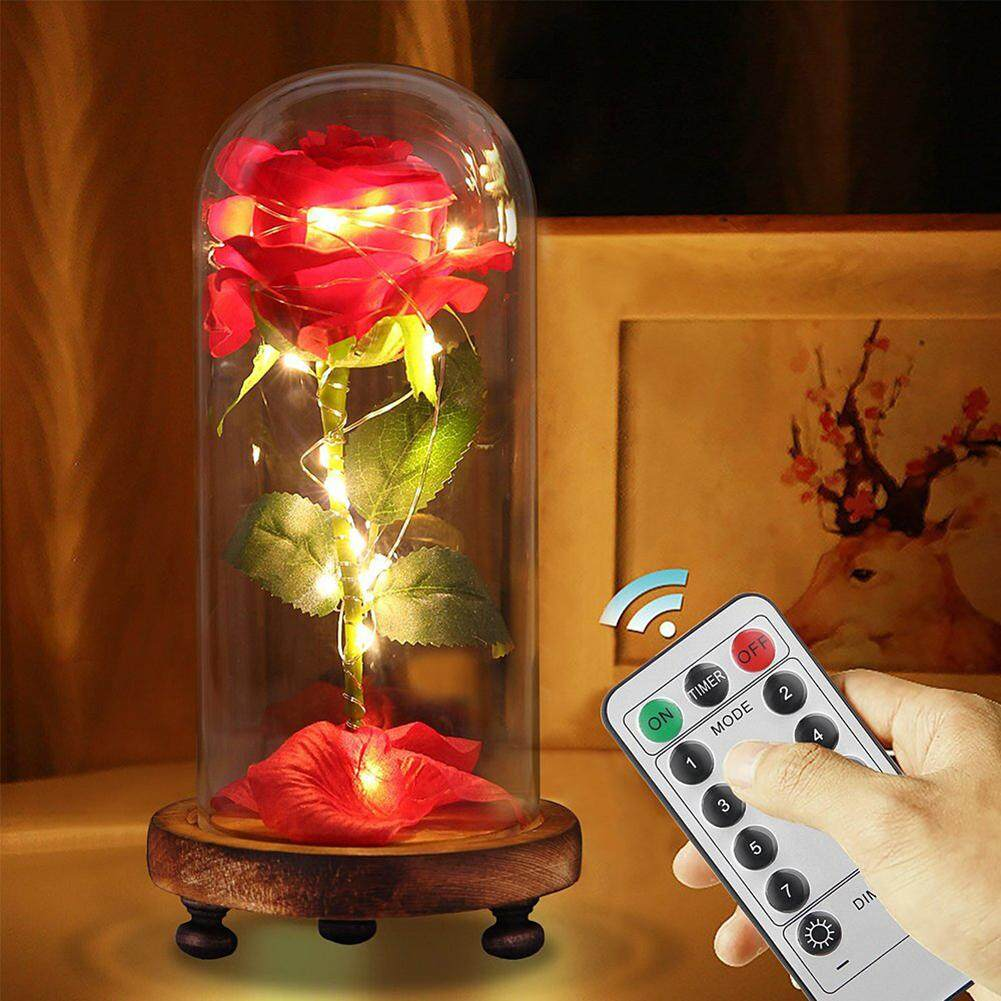 Laputa Remote Control LED USB Rechargeable Dry Rose Flower in Glass Cover Valentine Gift
