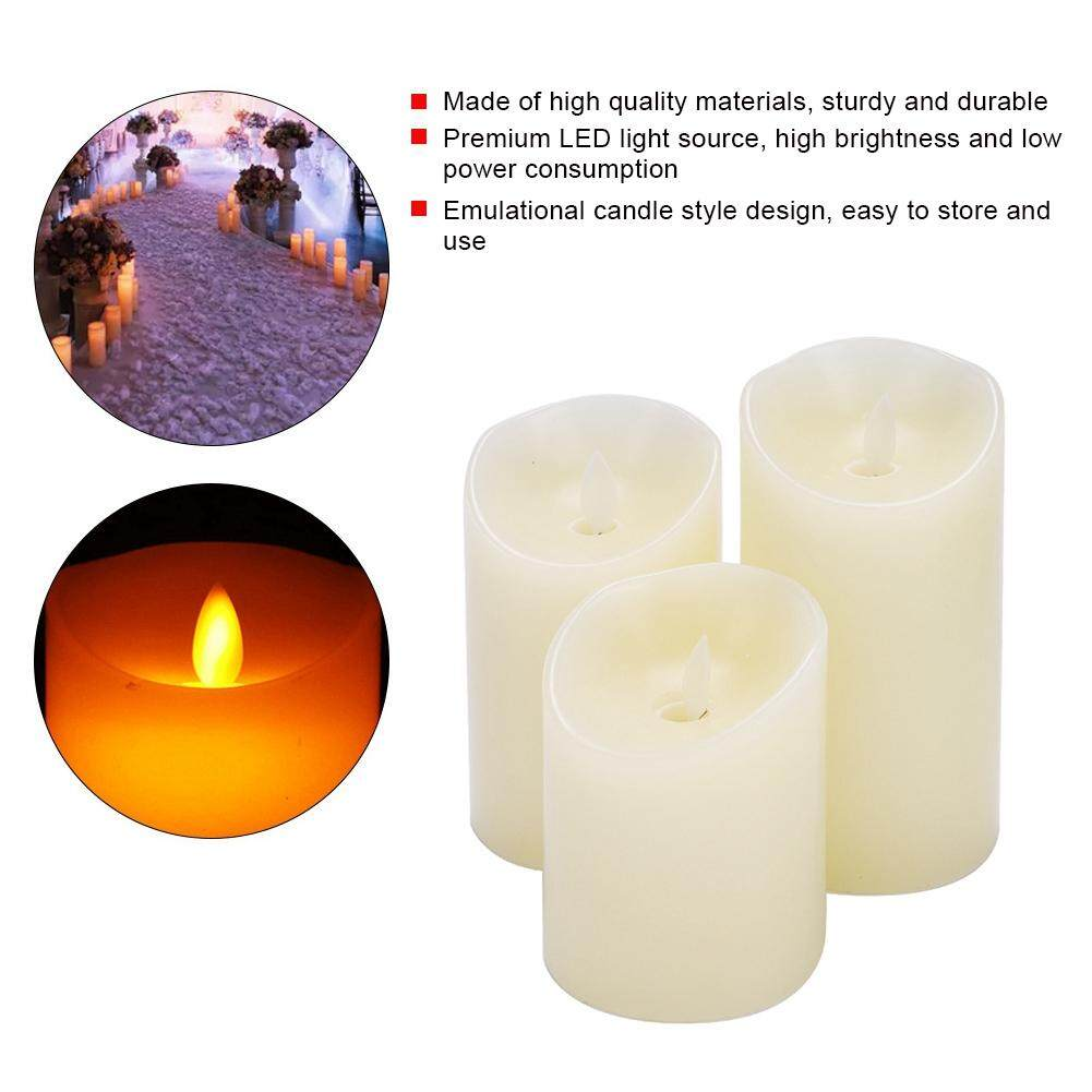3pcs Mini LED Fake Candle Lamp Flameless Battery Operated Tea Lights with Remote Controller