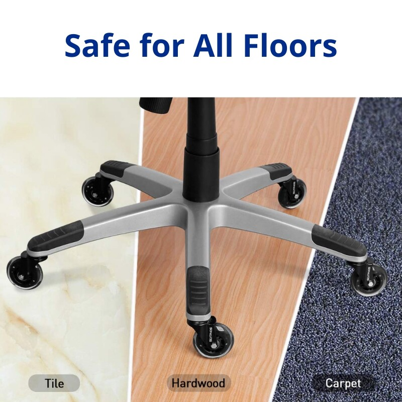 Material Handling Carpet Office Chair Wheels Replacement Rubber Chair Casters For Hardwood Floors Scanbike One