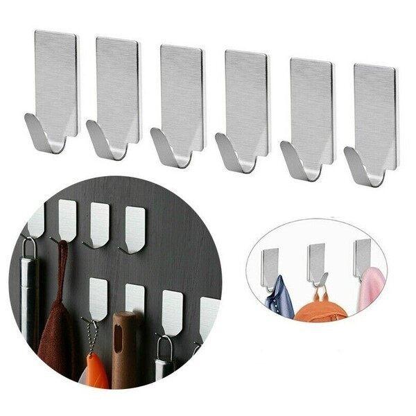 Happi GO 15PCS Stainless Steel Mini Self Adhesive Hook Sticky Wall Door Hook Robe Tea Towel