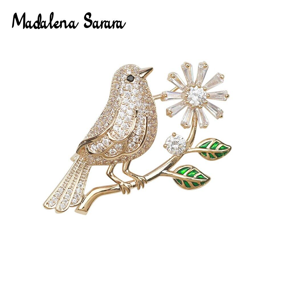 Aaaa Zircon And Crystal Inlaid Pearl Brooch Gol Plated Copper Bird Style Fine Brooch Pin For Women Jewelry.