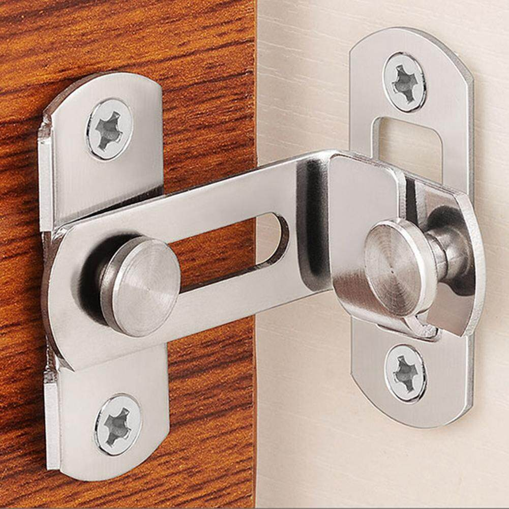 Button 90 Degree Security Tools Clasp Stainless Steel Cabinet Hardware Shift Sliding Push Pull Home Door Lock