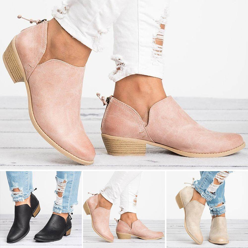 Autumn Women/'s Slip on Ankle Boots Leather  Heel Non Slip Comfort Shoes New