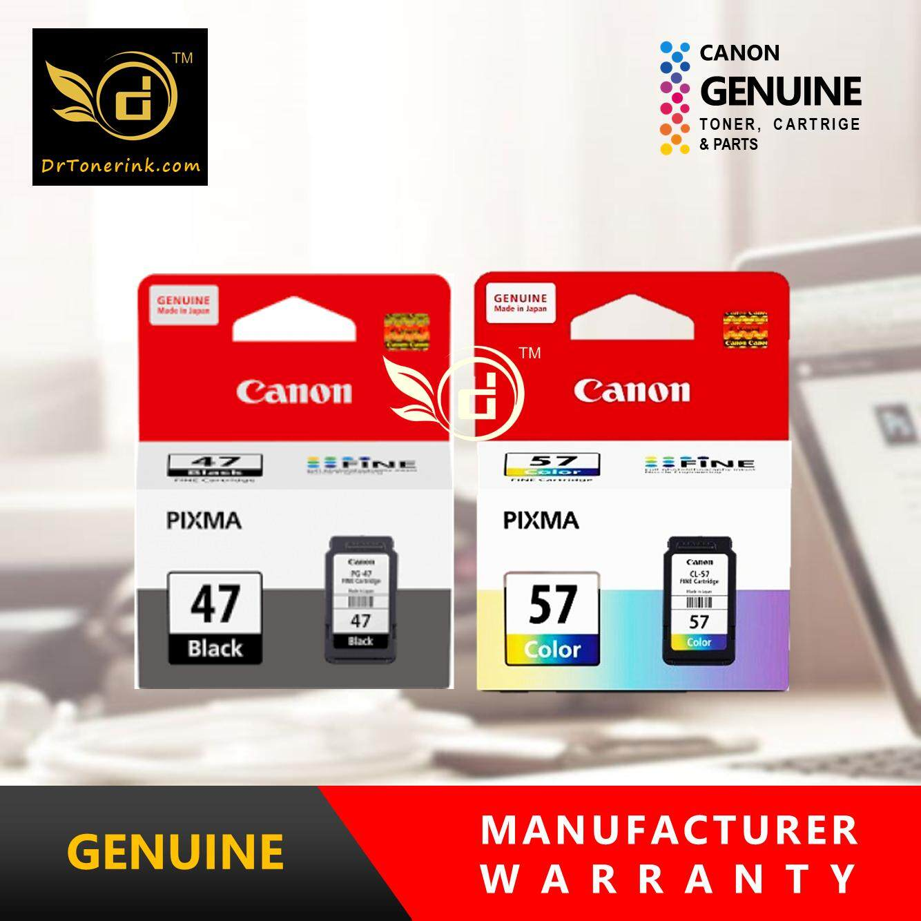 Genuine Original Ink Canon PG-47(15ML) & CL-57(13ML) - PG47 + CL57 - COMBO  - PiXMA E400 / E410 / E460 / E470 / E480 - by DrToner