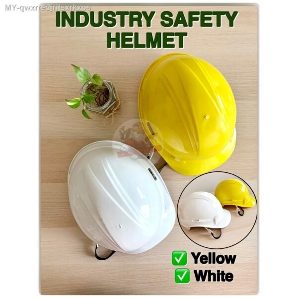 [Made In Malaysia] INDUSTRY SAFETY HELMET   Topi Keselamatan Yellow  White