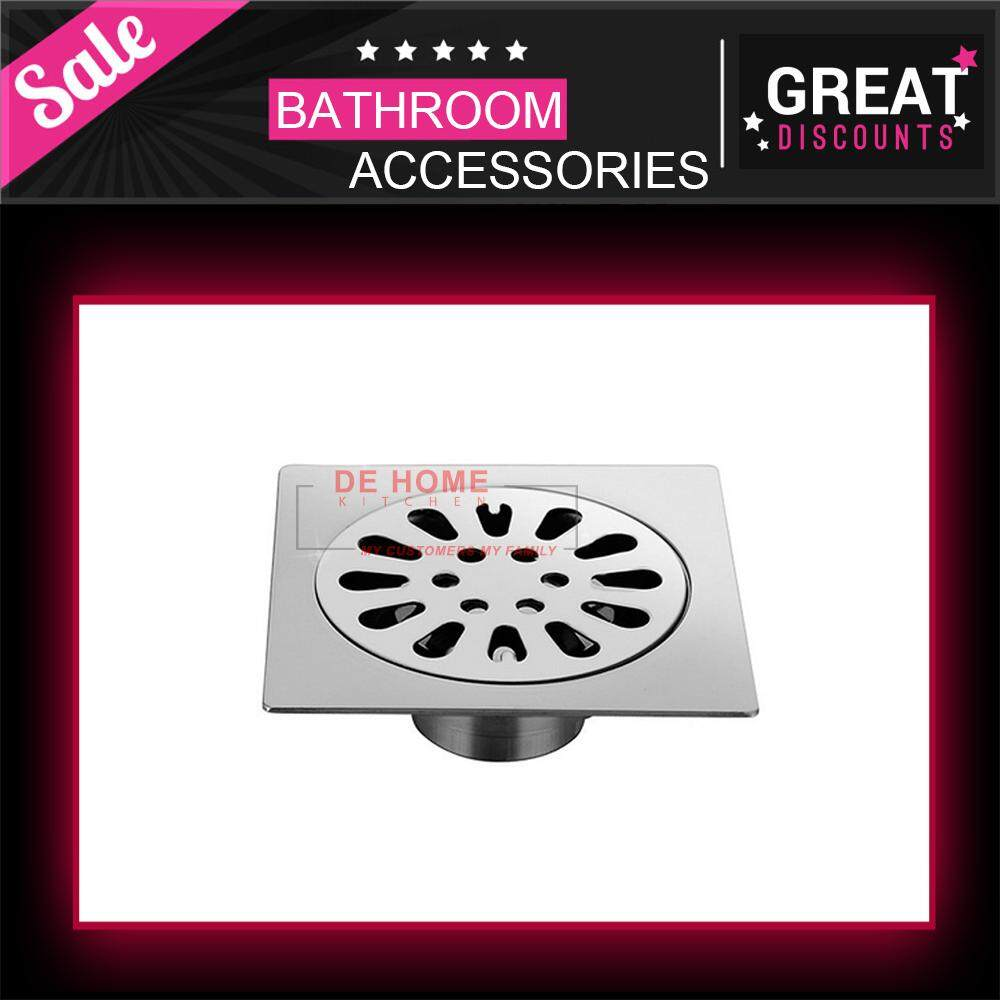 SUS304 Square Shower Floor Drain with Removable Strainer Stainless Steel