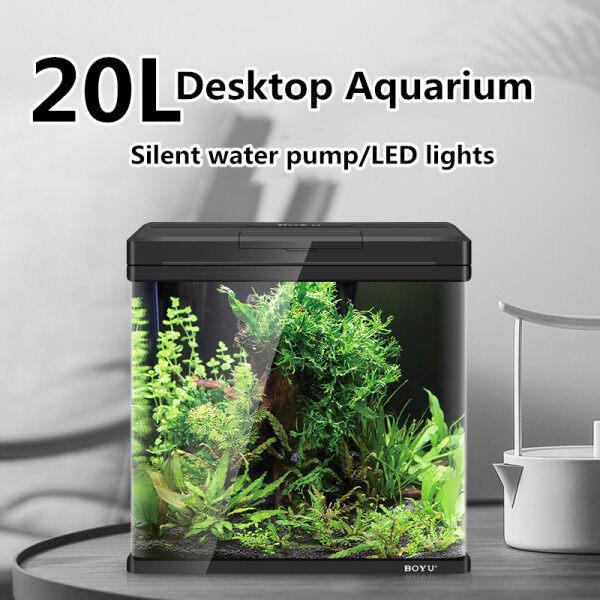 Desktop Advanced Aquarium Mini Glass Tank Home Living Room Aquarium(with Filter and LED Lights) (L32cmxW21cmxH40cm)