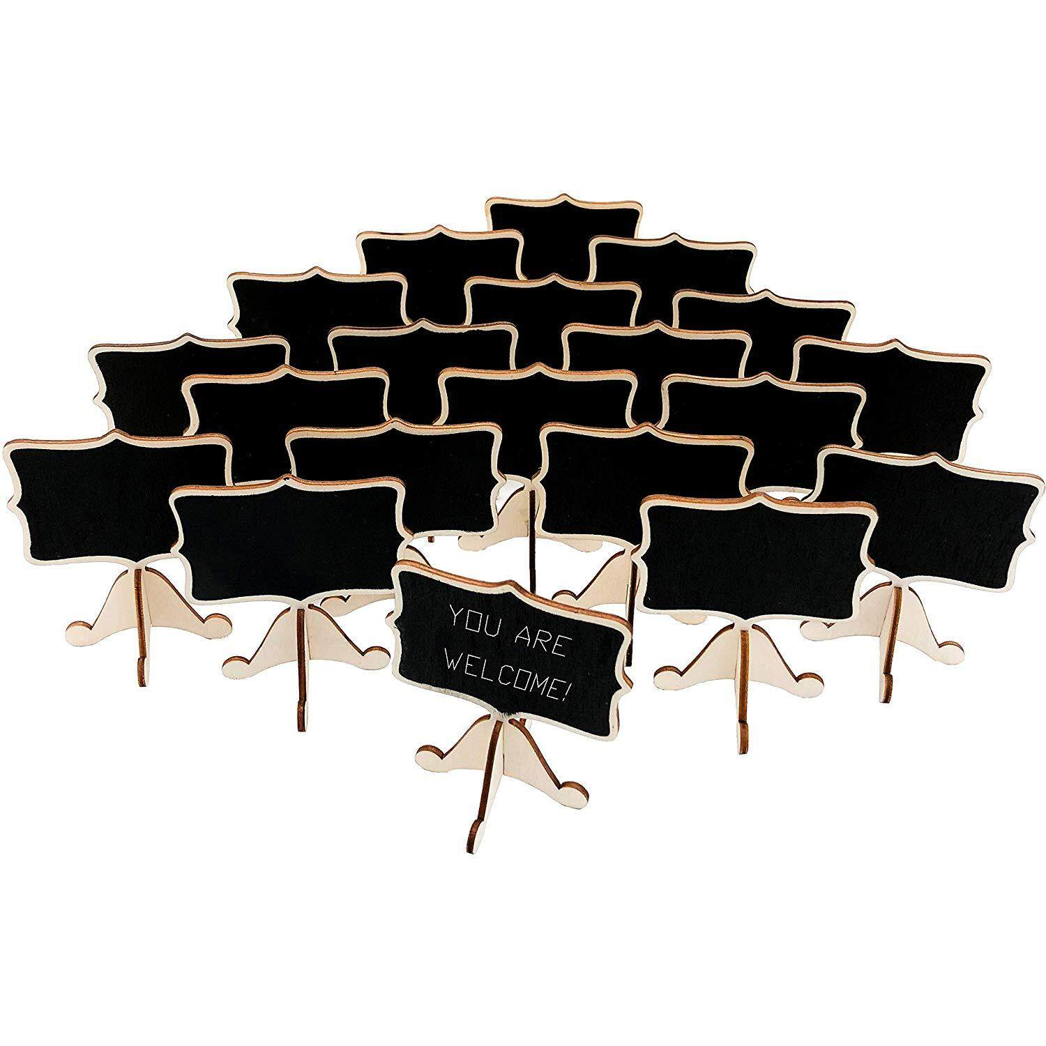 20 Pcs Wood Mini Chalkboard Signs With Support Easels, Place Cards,small Rectangle Chalkboards Blackboards For Weddings, Birthday Parties, Message Board Signs And Event Decorations By Starnet Store.