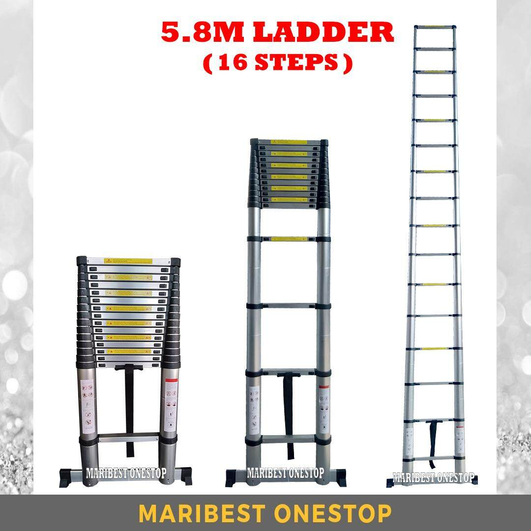 HIGH QUALITY ALUMINIUM TELESCOPIC EXTENDABLE LADDER 5.8M WITH 16 STEPS