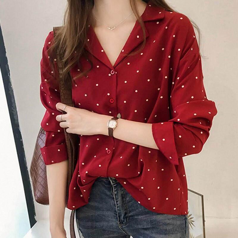 2019-New Women Polka Dot Printed Chiffon Blouse Long Sleeves Tops By Dongxin Mall