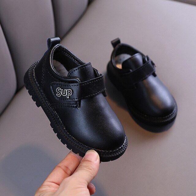 Giày Giả Da Cho Bé Trai Giày Da Đế Mềm Cao Su Giày Trẻ Em Thường Ngày Màu Đen Nâu Cho Học Sinh Nam Phong Cách Anh Quốc