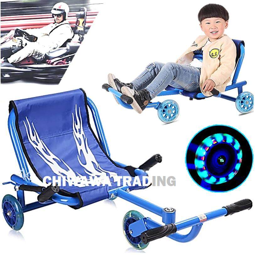 【flashing Wheels】 Children And Kid Tricycle Ride Scooter Tri Wheel Metal Drift Foot Twister Swing Car By Chiwawa Trading.