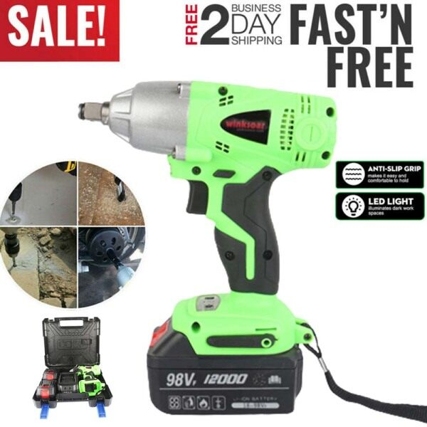 Electric Cordless Impact Wrench Drill Driver Tool 1/2 Ratchet Drive Wrench(not include socket)
