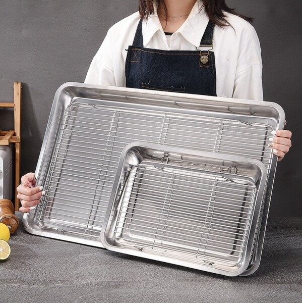 【Charainwang】stainless Steel BBQ Grill Meshes Oven Net Wire Steaming Kebab Barbecue Mesh Rack Kitchen Bread Cold Rack Baking Tray Plate Tray