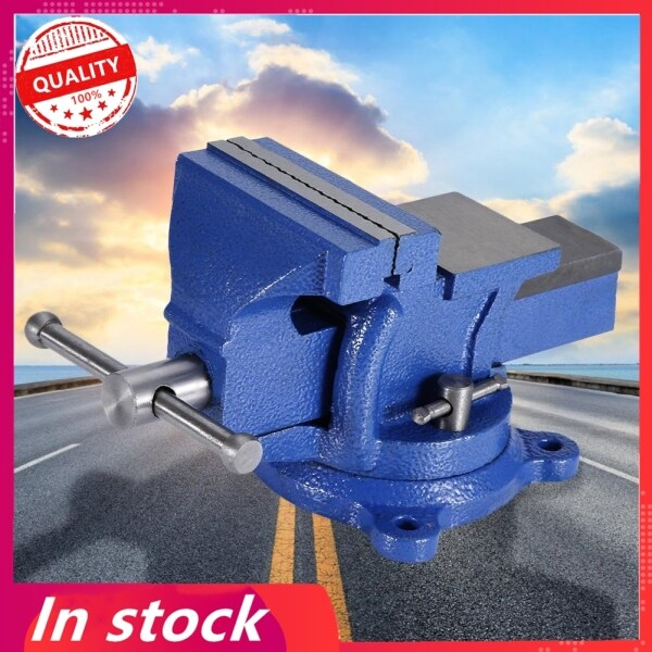 【Gold Certification】Bench Vise Heavy Duty Tabletop Clamp with Anvil Swivel Locking Base