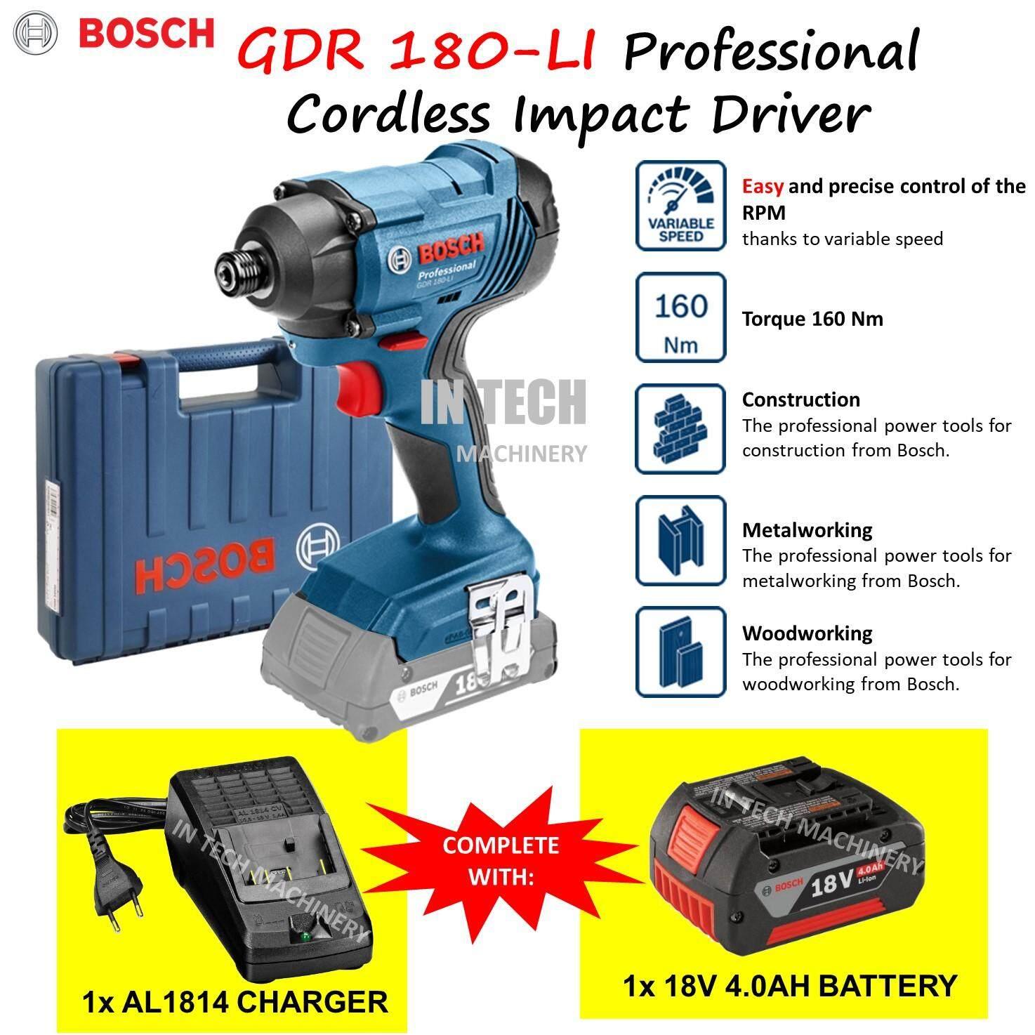 BOSCH GDR180-LI PROFESSIONAL CORDLESS IMPACT DRIVER (1NO AL1814CV CHARGER & 1NO 18V 4.0AH BATTERY)