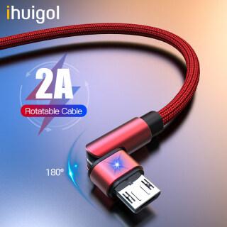 Ihuigol Cáp Micro USB Xoay 180 Độ 1M 2A 90 Sạc Dây Sạc Điện Thoại Di Động Dành Cho Samsung Xiaomi Huawei Cho Realme C15 Dây Sạc Cho Vivo Y20 Oneplus thumbnail