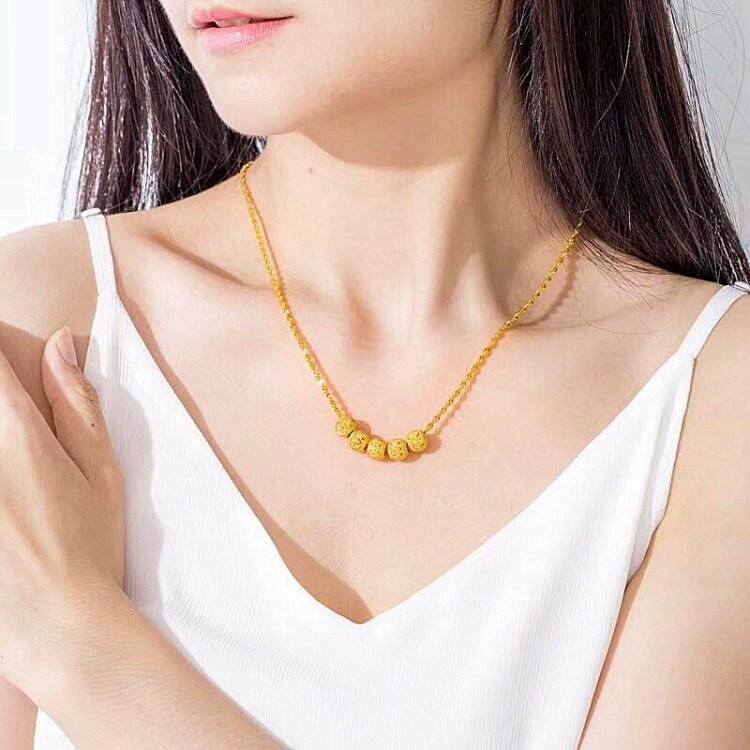 18k saudi gold plated necklace for women transfer beads bring you good luck, healthy and