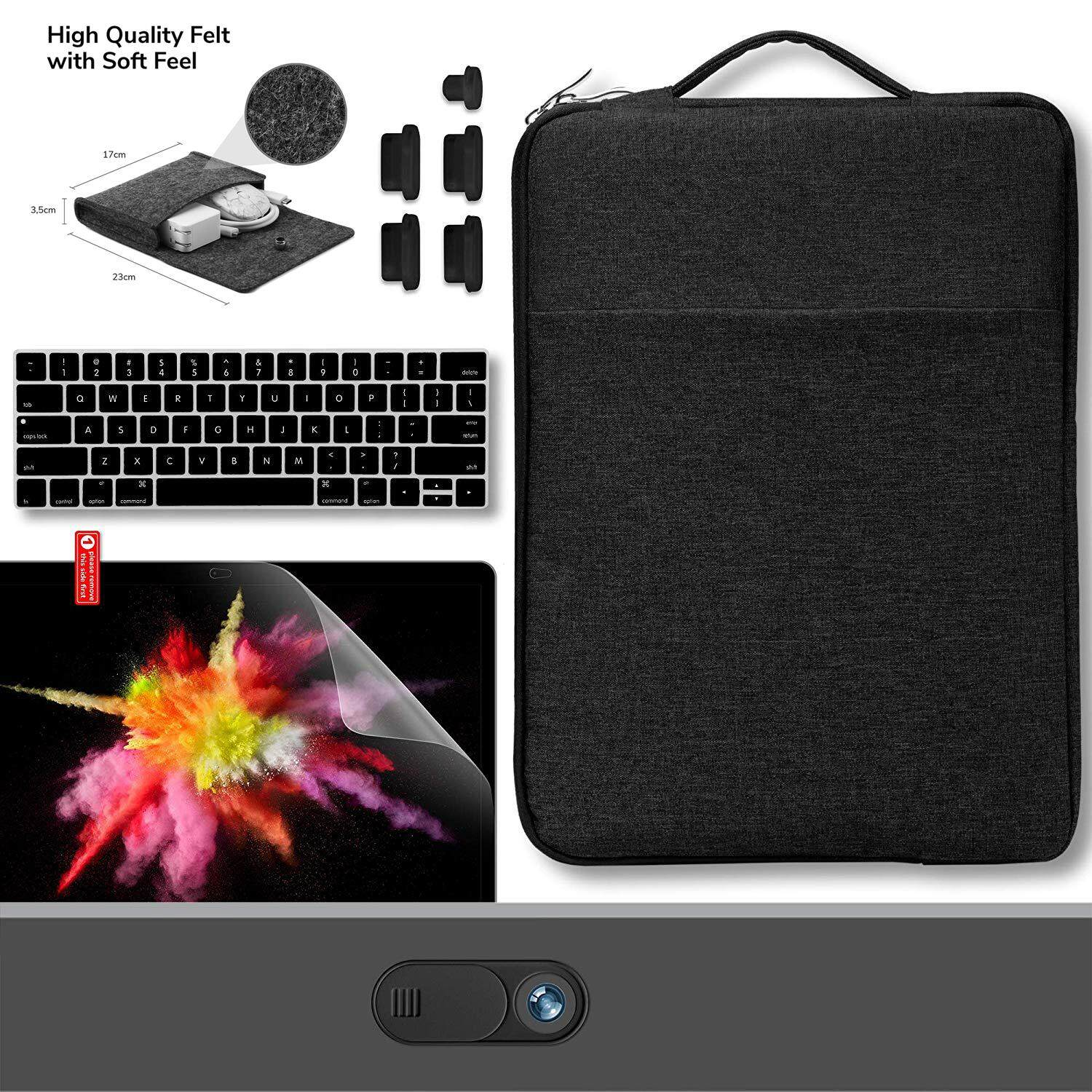 MacBook Pro 13 Inch Touch Bar A1989/A1706/A1708 2016-2018, (6 in1)Sleeve, Privacy Webcam Cover, Anti Dust Plugs, Felt Storage Bag Travel Pouch for Accessories, Keyboard Cover Screen Protector,Keyboard Cover Set