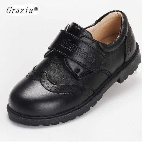 Giày Cưới Da Thật Cho Trẻ Em GRAZIA, Giày Đám Cưới Màu Đen Cho Bé Trai, Giày Thể Thao Đế Xuồng Trang Trọng Cỡ 26-40 giá rẻ