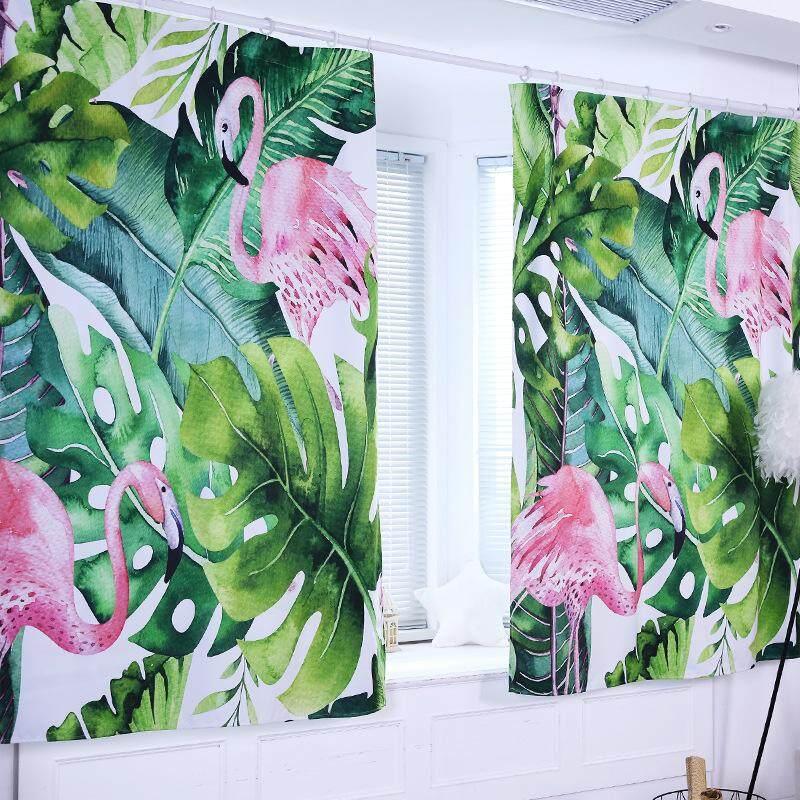 130X180 Cm, 100X130 Cm, 80X100 CM 1 PC Gorden Blackout Daun Tropis Flamingo Tinggi Shading Tirai Tirai Jendela untuk Musim Panas Dekorasi Rumah Kantor