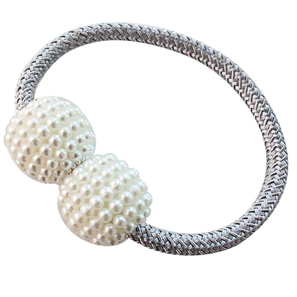 Greenbox Faux Pearl Beads Weaving Rope Magnetic Curtain Tieback Ring Holder Home Decor