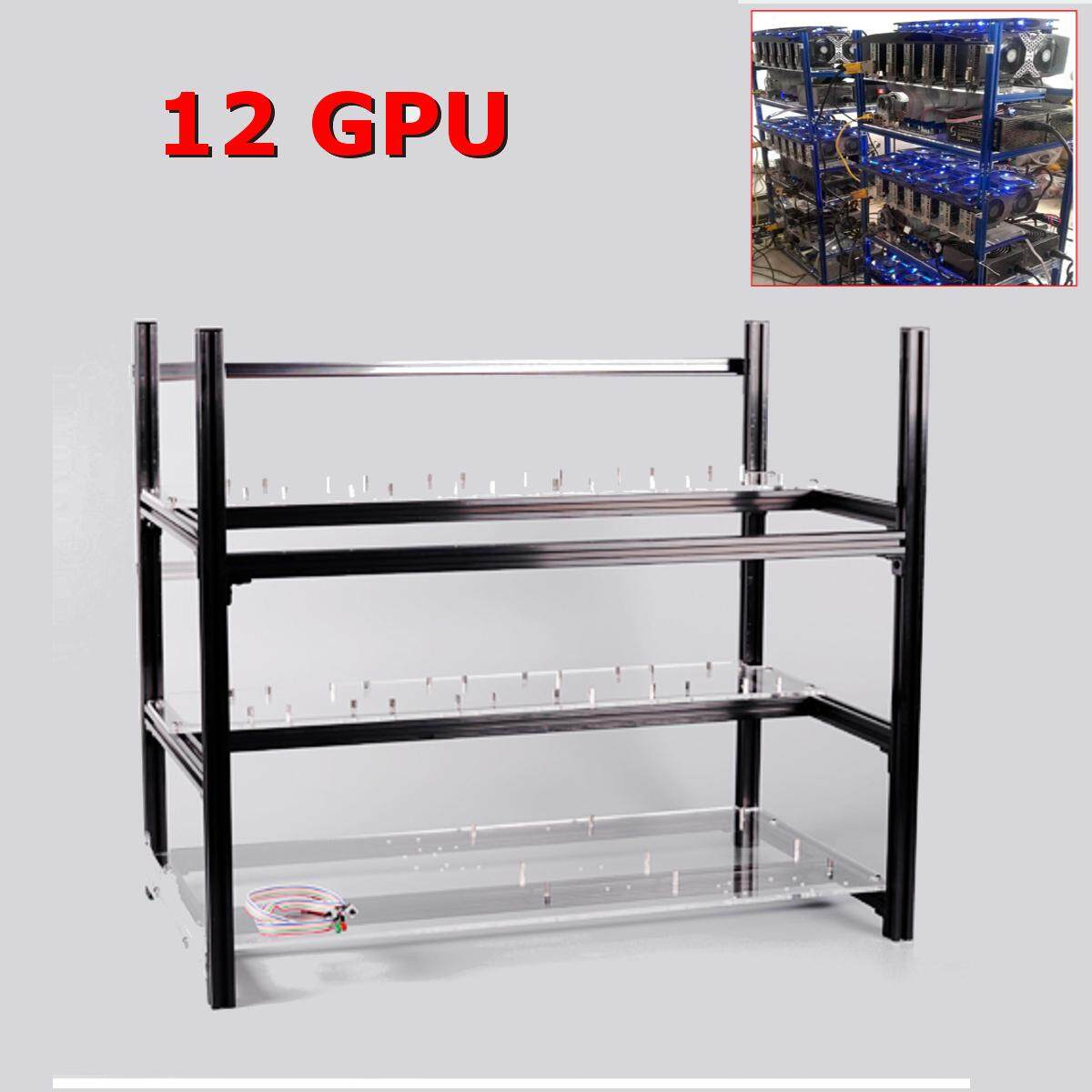 【Free Shipping + Flash Deal】Aluminum Stackable Frame Case Open Air Mining  Miner Rig 12 GPU For ETH Ethereum