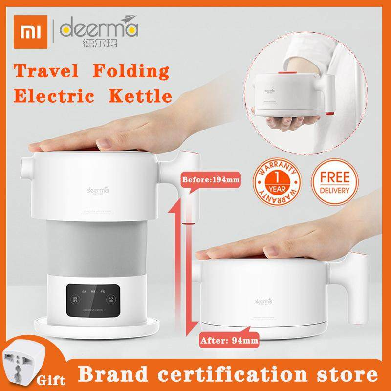 Xiaomi Deerma Travel Touch Screen Foldable Electric Kettle Folding Electric Kettle, Portable Mini Camping Kettle with Food Grade Silicone DH206