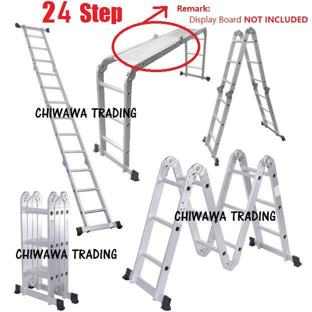 24 Steps Heavy Duty Aluminium Multipurpose Ladder 6 Hinges MP24 / Tangga